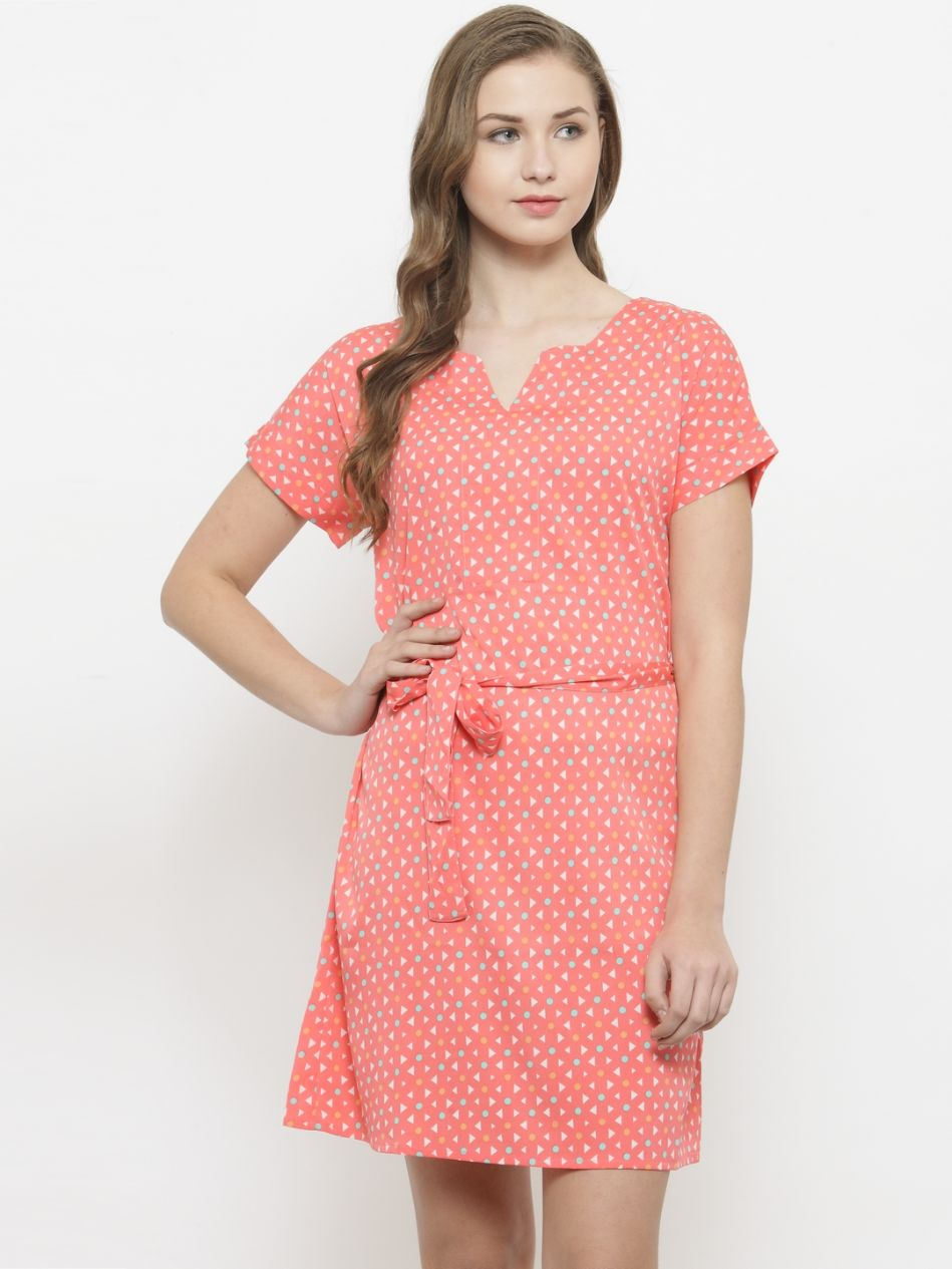 Querida Geometric Printed Dress with Tie at waist