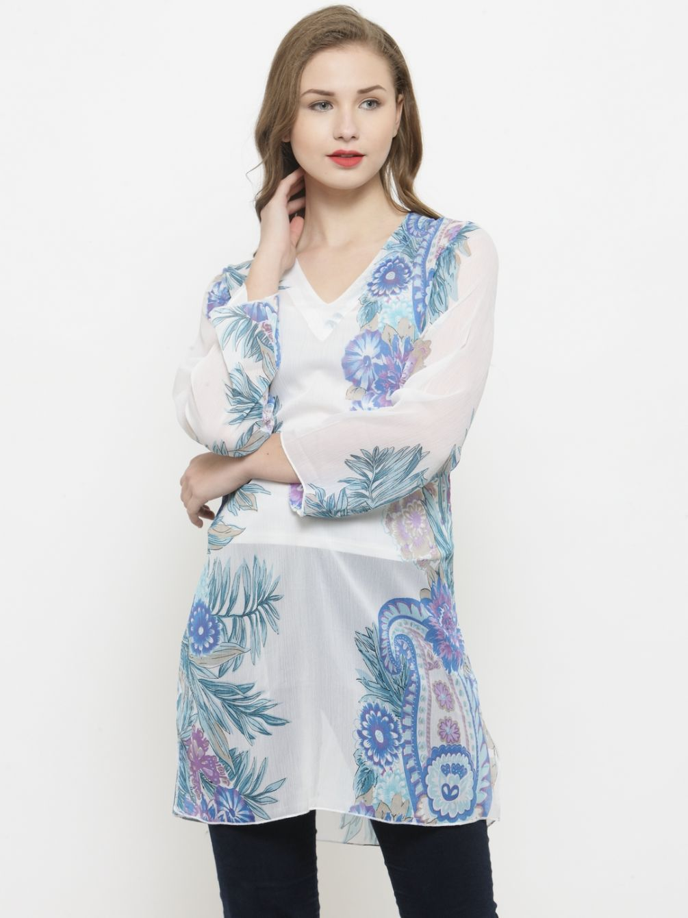 Querida White / Blue Floral Printed Sheer Tunic Top