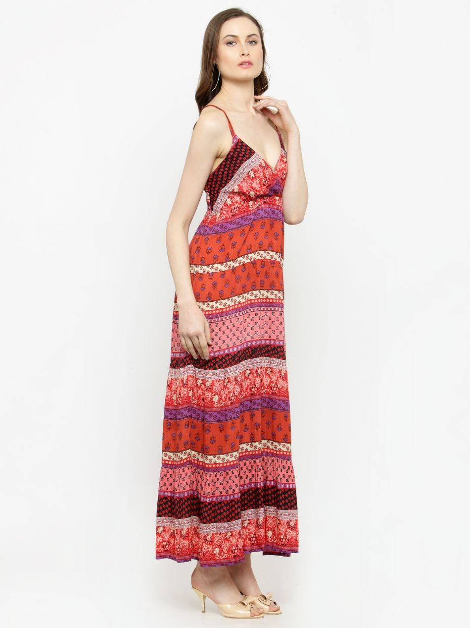 Querida Multico Long Dress with adjustable straps.
