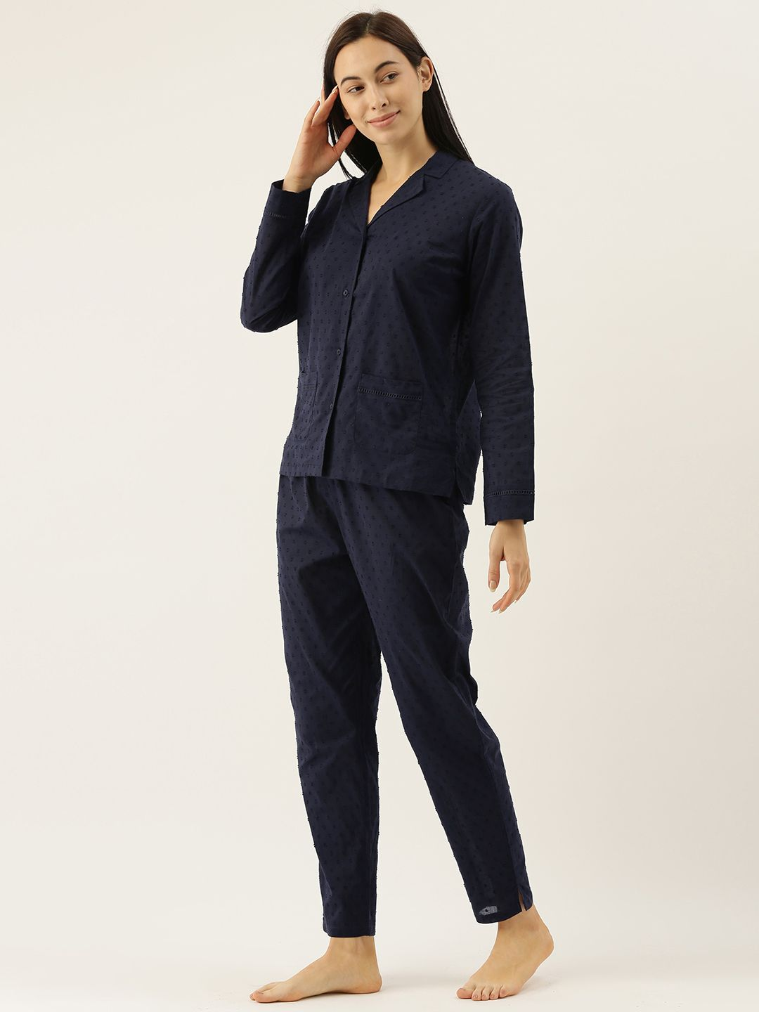 Civic Navy Dobby Self Design  Ankle Length Lounge Set
