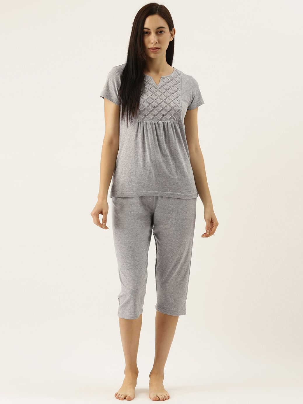Grey Capri Set with Geometric Embroidery