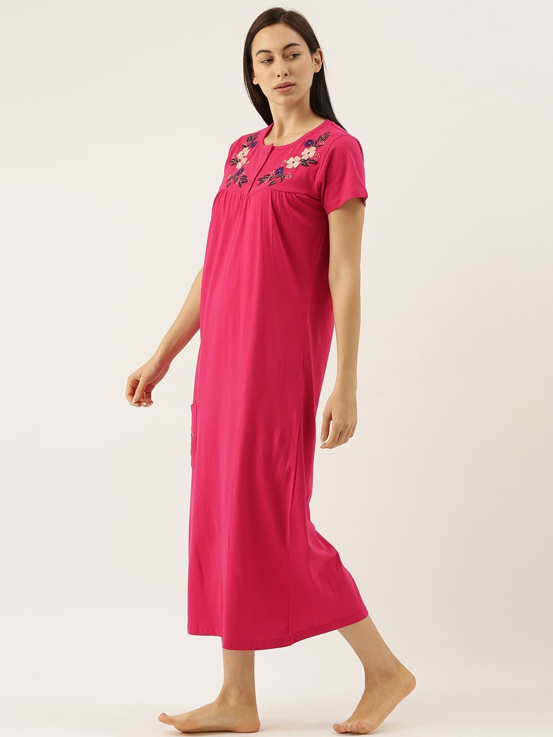Red Night Dress with Pretty Flowers Embroidery