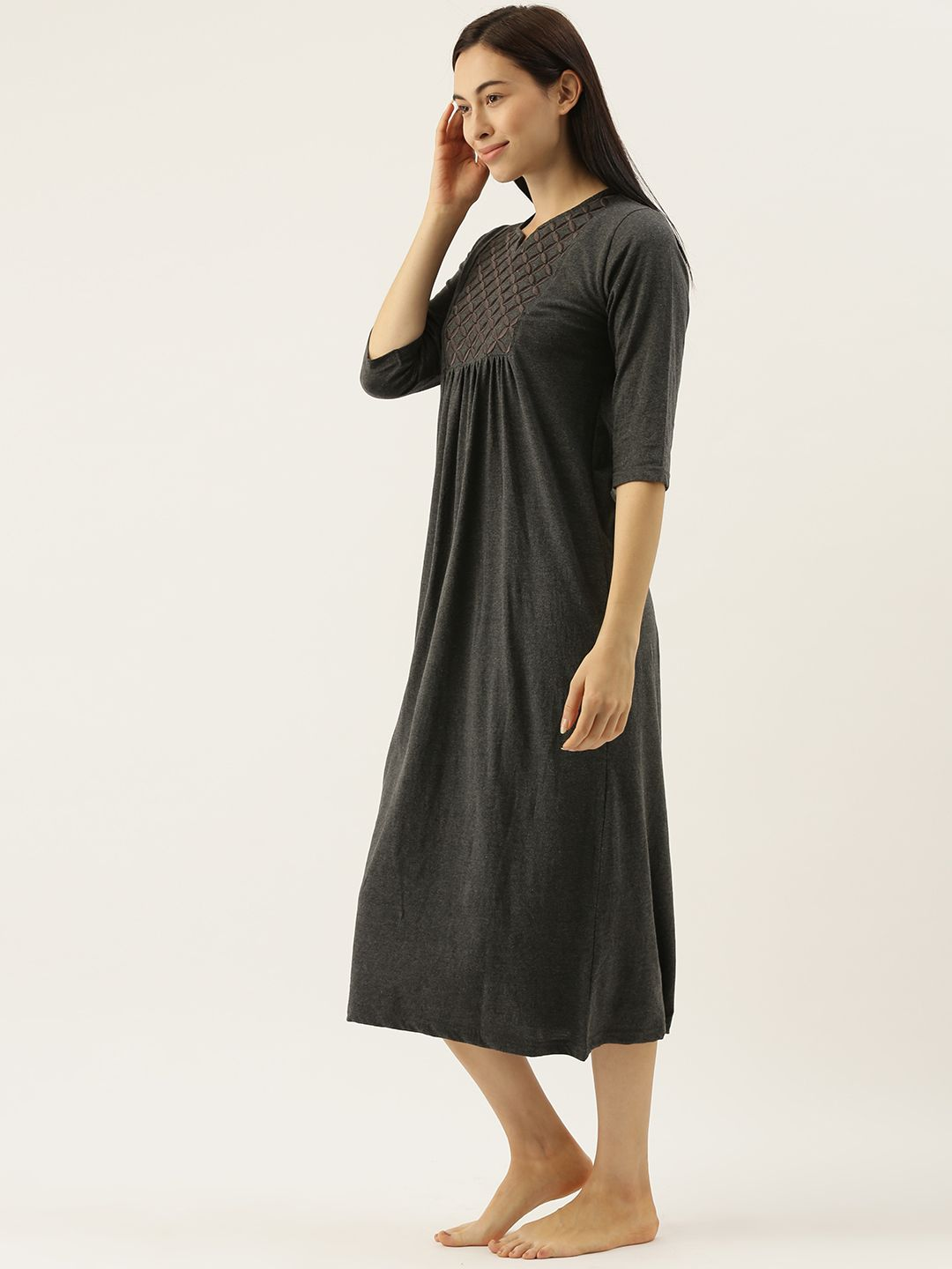 Charcoal Night Dress with Geometric Embroidery