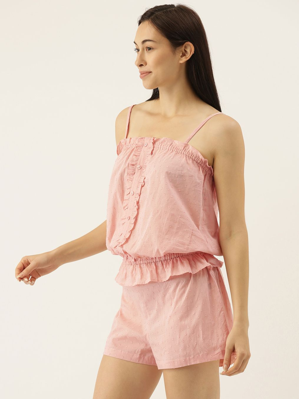 Cissy Rose Pink Dobby Self Design Spaghetti Top & Shorts Set