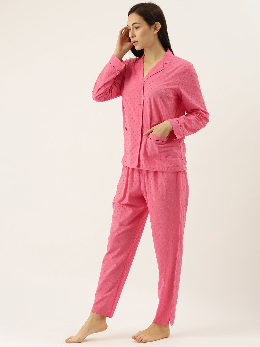 Fuchsia Civic Dobby Self Design Lounge Set