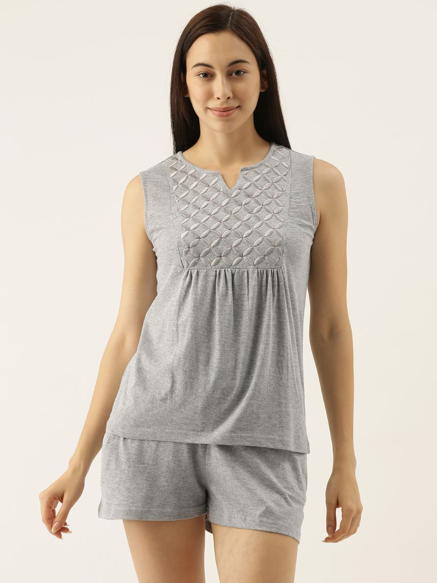 Grey Short Set with Geometric Embroidery