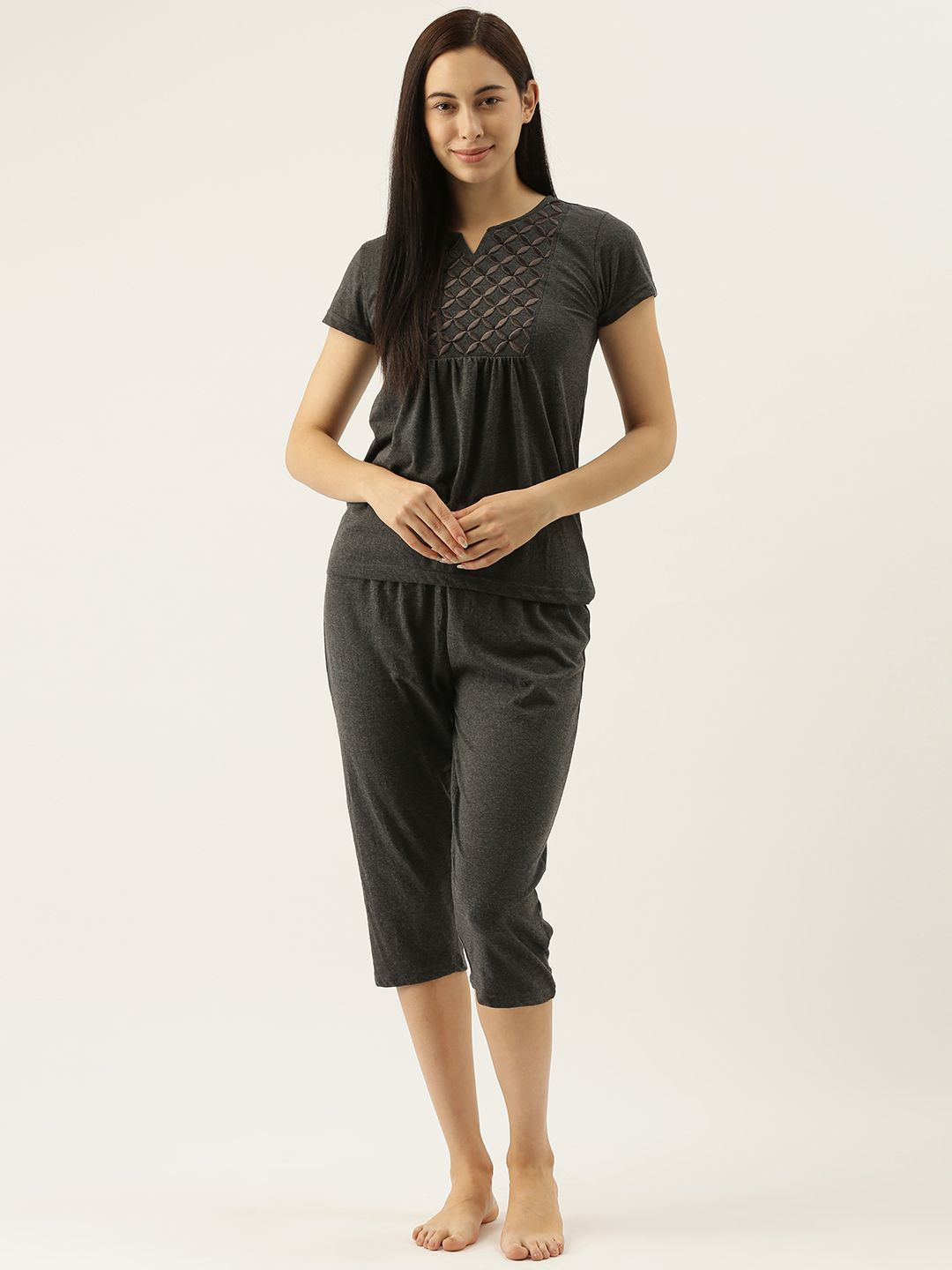 Charcoal Capri Set with Geometric Embroidery