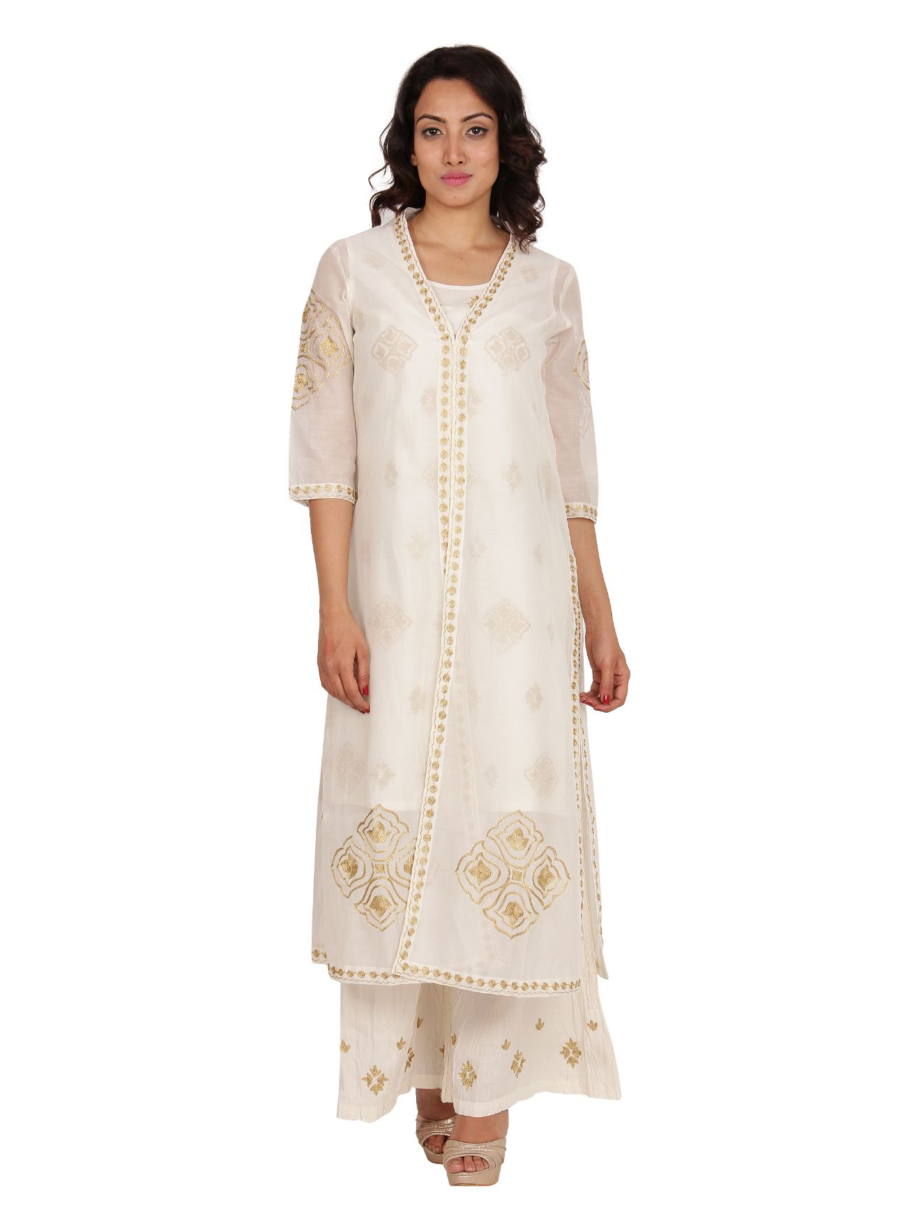 Neemrana Set of 3 - Chanderi Jacket + Kurti + Palazzos