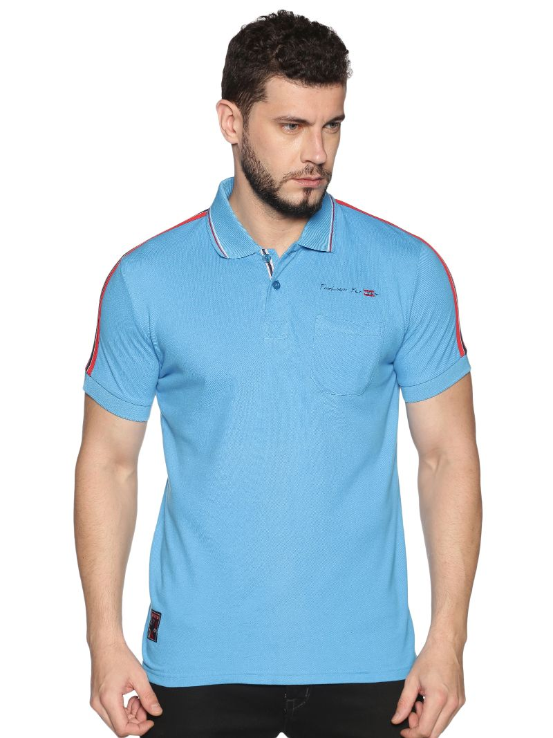 Pique Polo with tape on sleeve ( Blue )