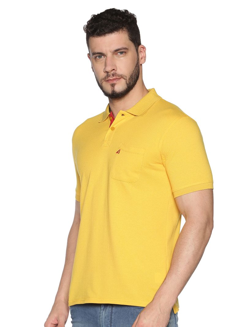 Basic Polo Pique with contrast placket- Colour Buff Yellow (Recycled Fabric)