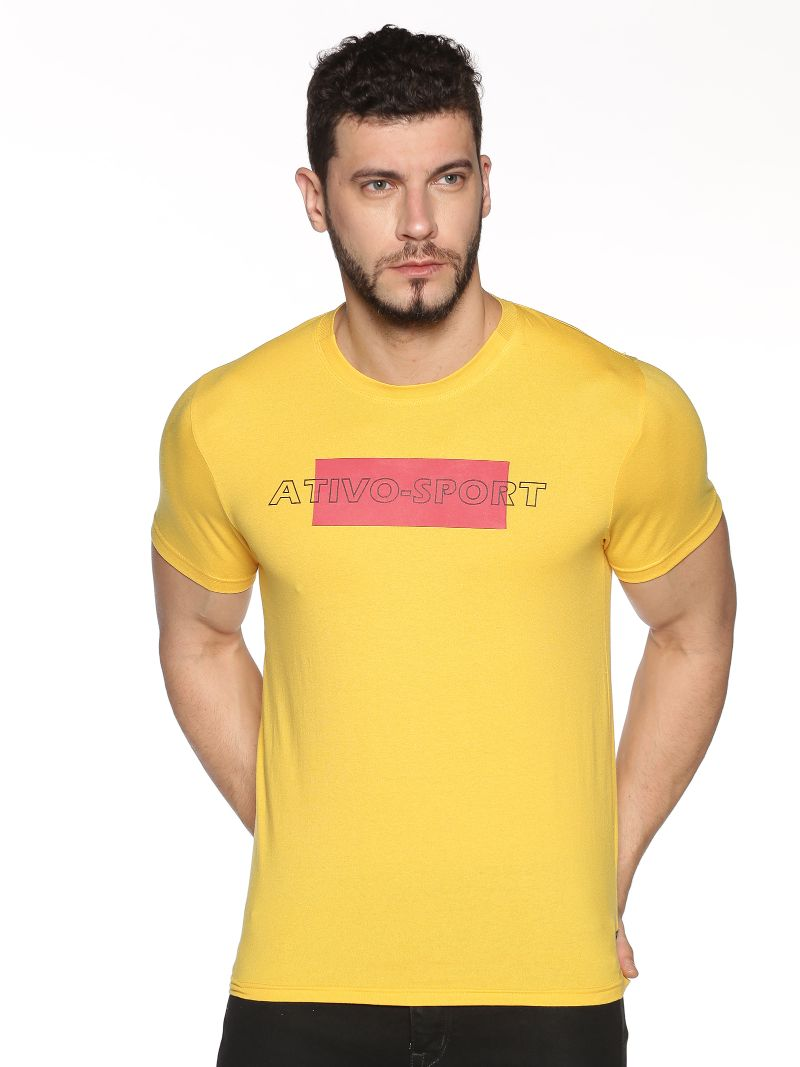 Graphic Print Tee-Colour Yellow (Recycled Fabric)