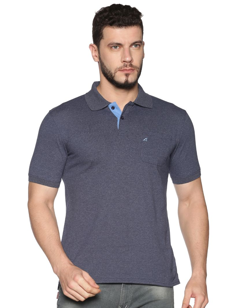 Basic Polo Pique with contrast placket- Colour Blue Indigo (Recycled Fabric)