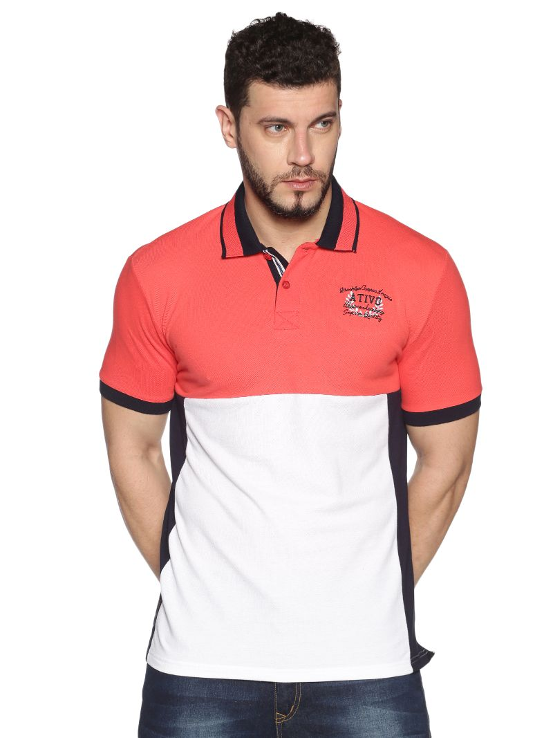 Cut & Sewn Pique Polo (Coral / White / Navy )