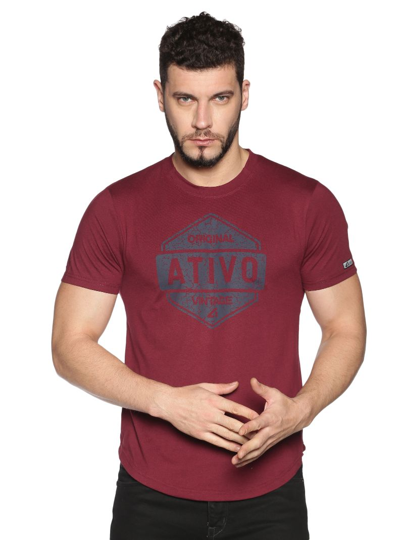 Graphic Print Tee-Colour Burgundy (Recycled Fabric)