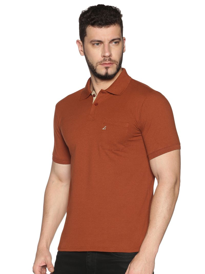 Basic Polo Pique with contrast placket- Colour Sequoia Brown (Recycled Fabric)