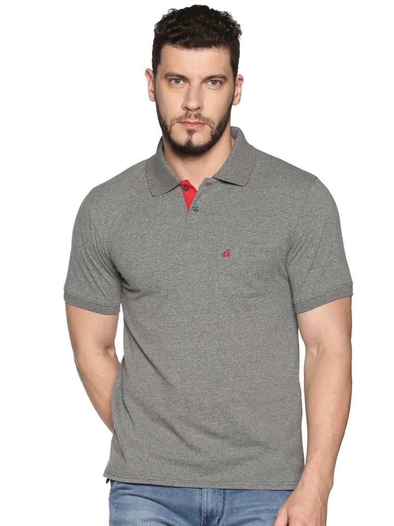 Basic Polo Pique with contrast placket- Colour Charcoal (Recycled Fabric)