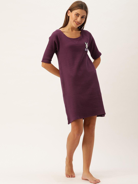 Slumber Jill Winter Waffle Purple Lounge Dress