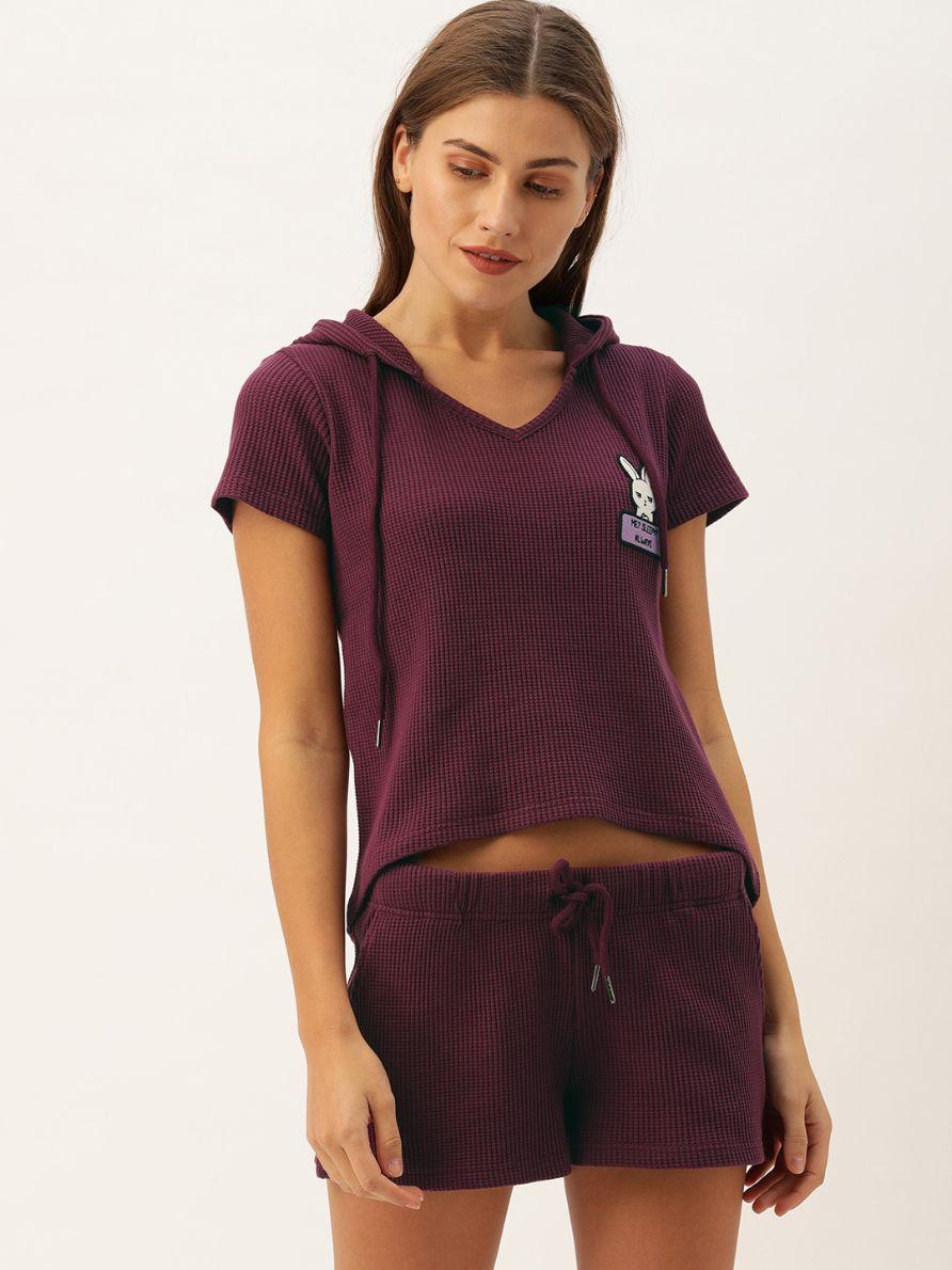Slumber Jill Winter Waffle Purple Hoodie Short Set