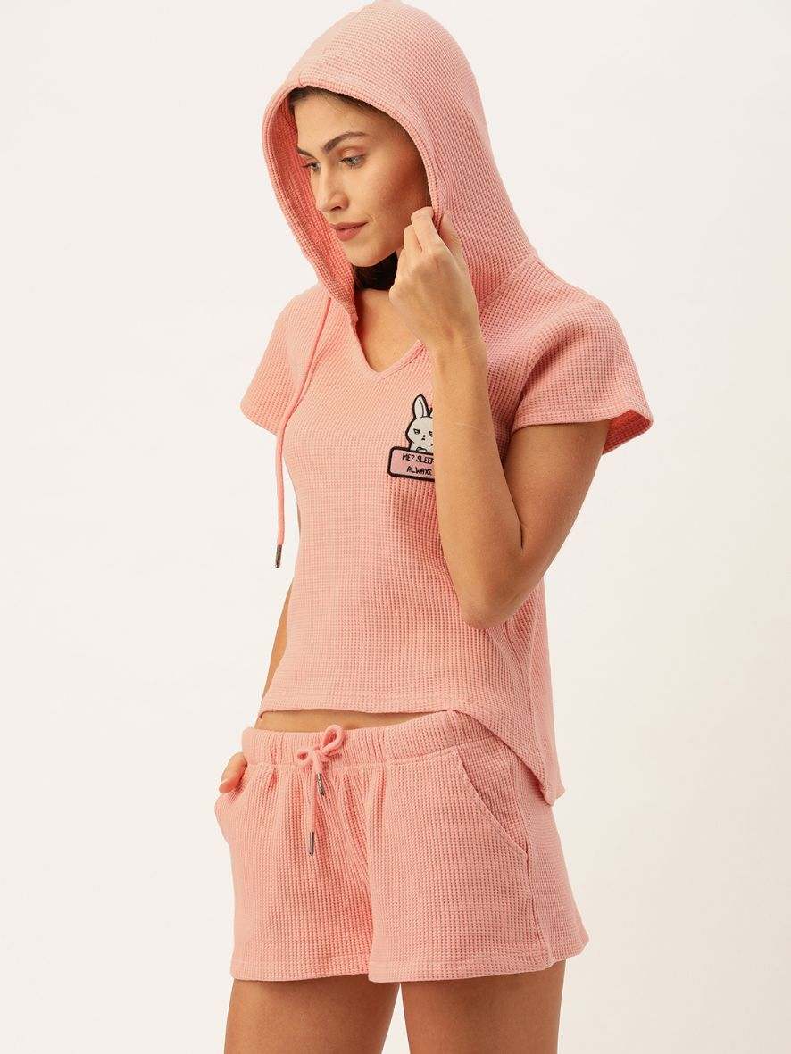 Slumber Jill Winter Waffle Rose Pink Hoodie Short Set