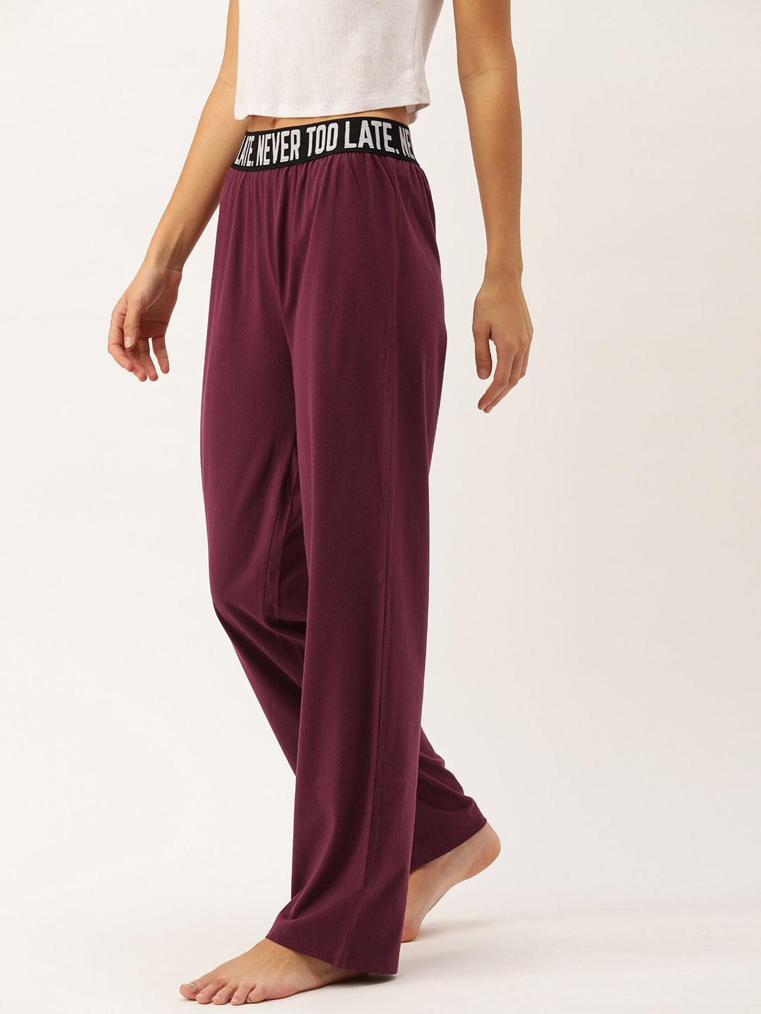 "Recycled ""Never Too Late"" Bordeaux Lounge Pants"