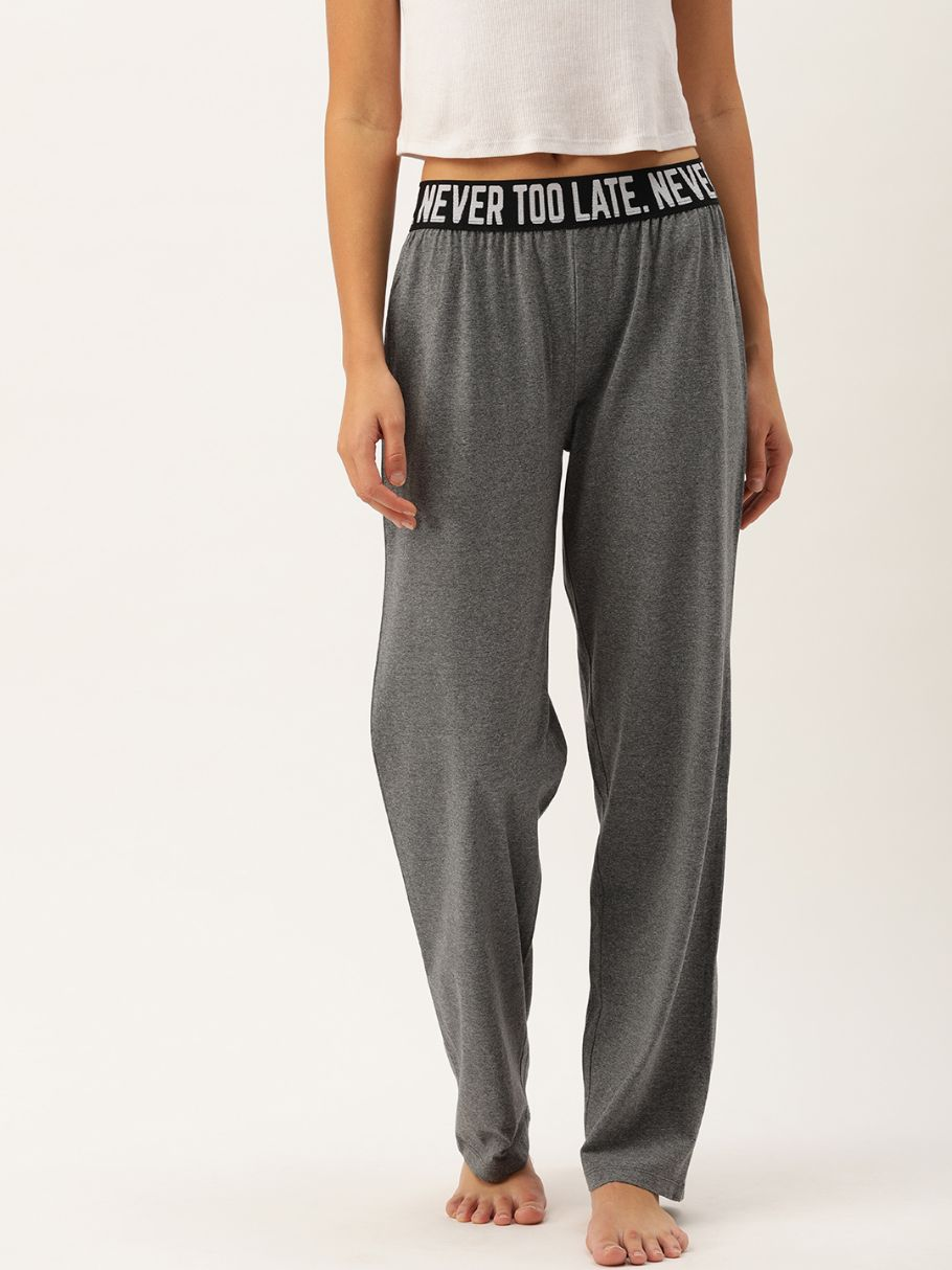 "Recycled ""Never Too Late"" Charcoal Lounge Pants"