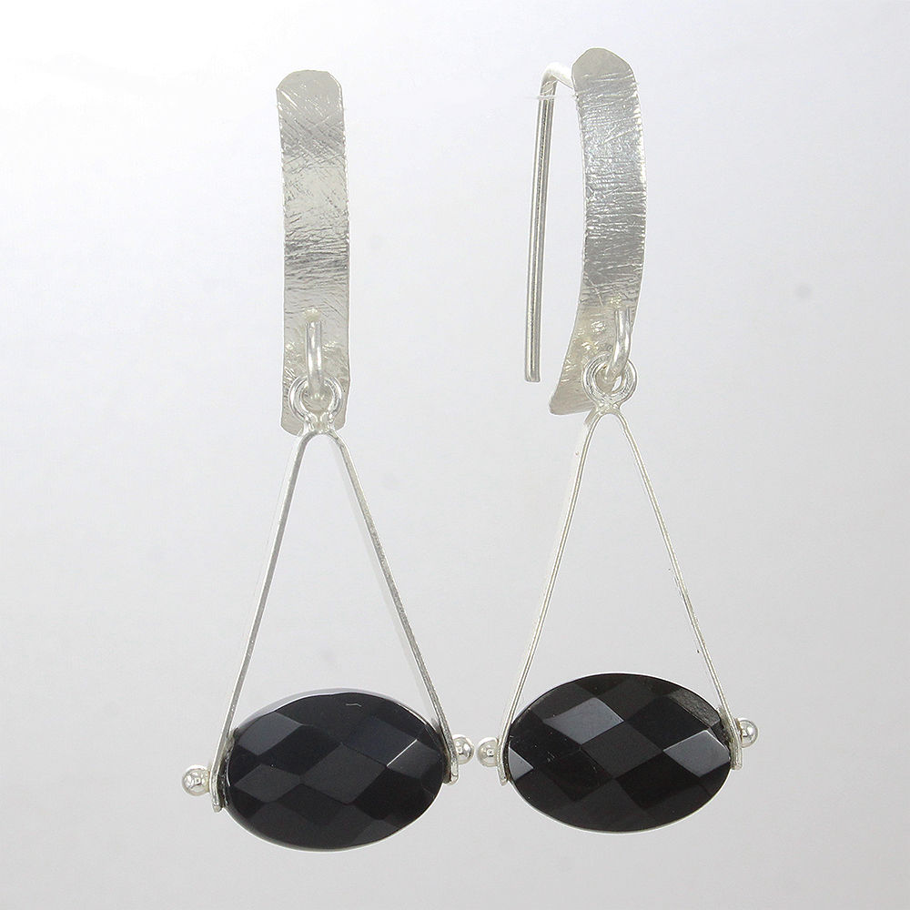 Designer-Jewelry-925-Sterling-Solid-Silver-Black-Onyx-Gemstone-Gift-Earrings thumbnail 3