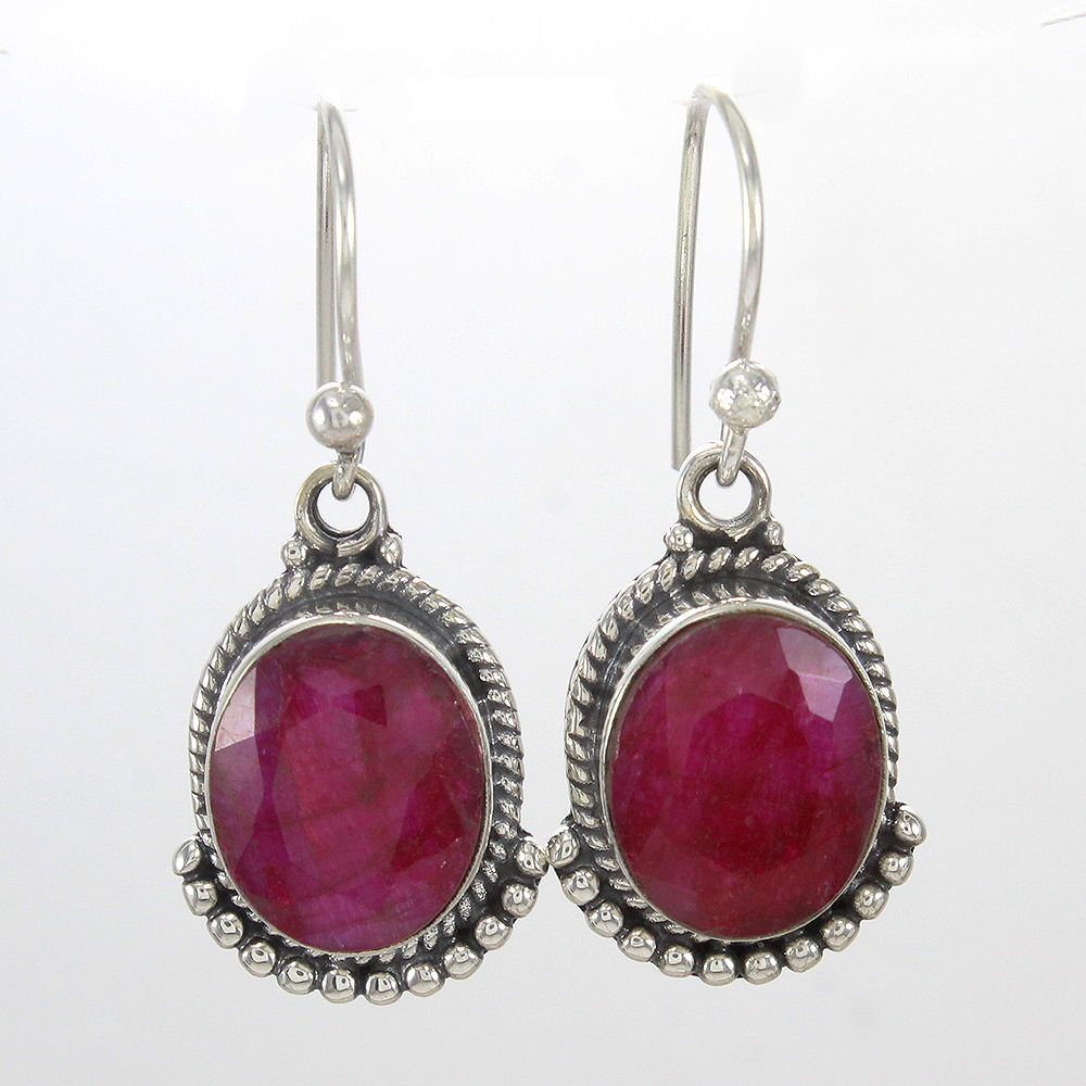 Pink-Ruby-Gemstone-Earrings-Solid-925-Sterling-Silver-Bridal-Gift-Jewelry thumbnail 3