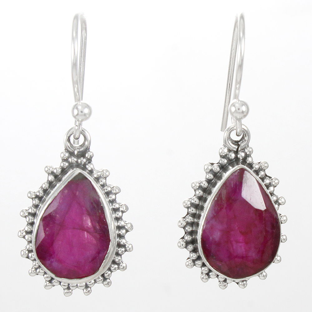 Pink-Ruby-Gemstone-Earrings-Solid-925-Sterling-Silver-Bridal-Gift-Jewelry thumbnail 7