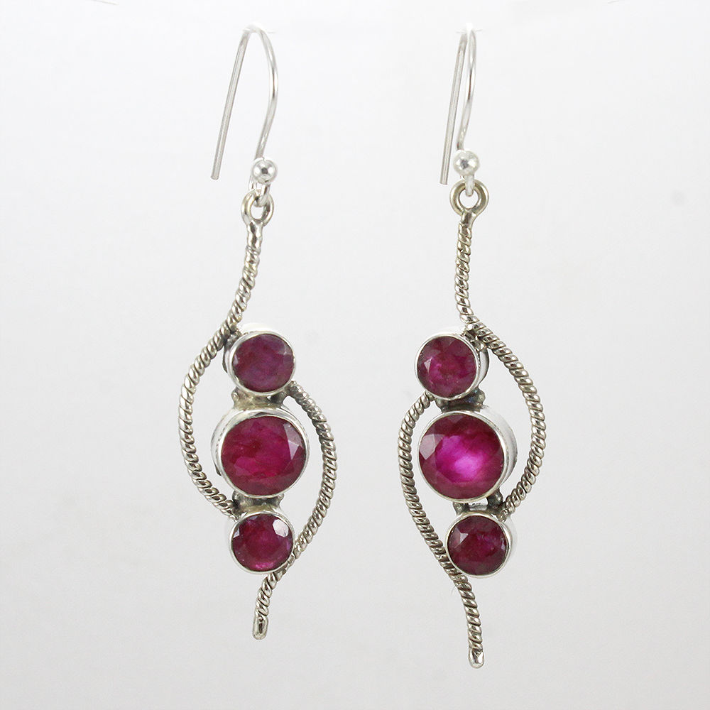 Pink-Ruby-Gemstone-Earrings-Solid-925-Sterling-Silver-Bridal-Gift-Jewelry thumbnail 5