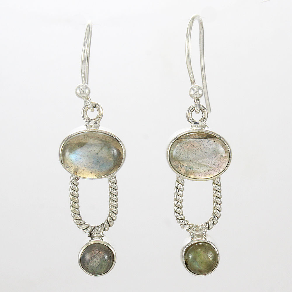 Natural-Labradorite-Handmade-Solid-925-Sterling-Silver-Earrings-Mothers-Day-Gift thumbnail 3