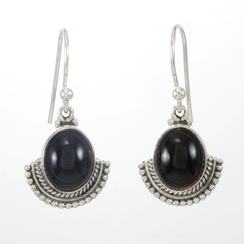 Designer-Jewelry-925-Sterling-Solid-Silver-Black-Onyx-Gemstone-Gift-Earrings thumbnail 5