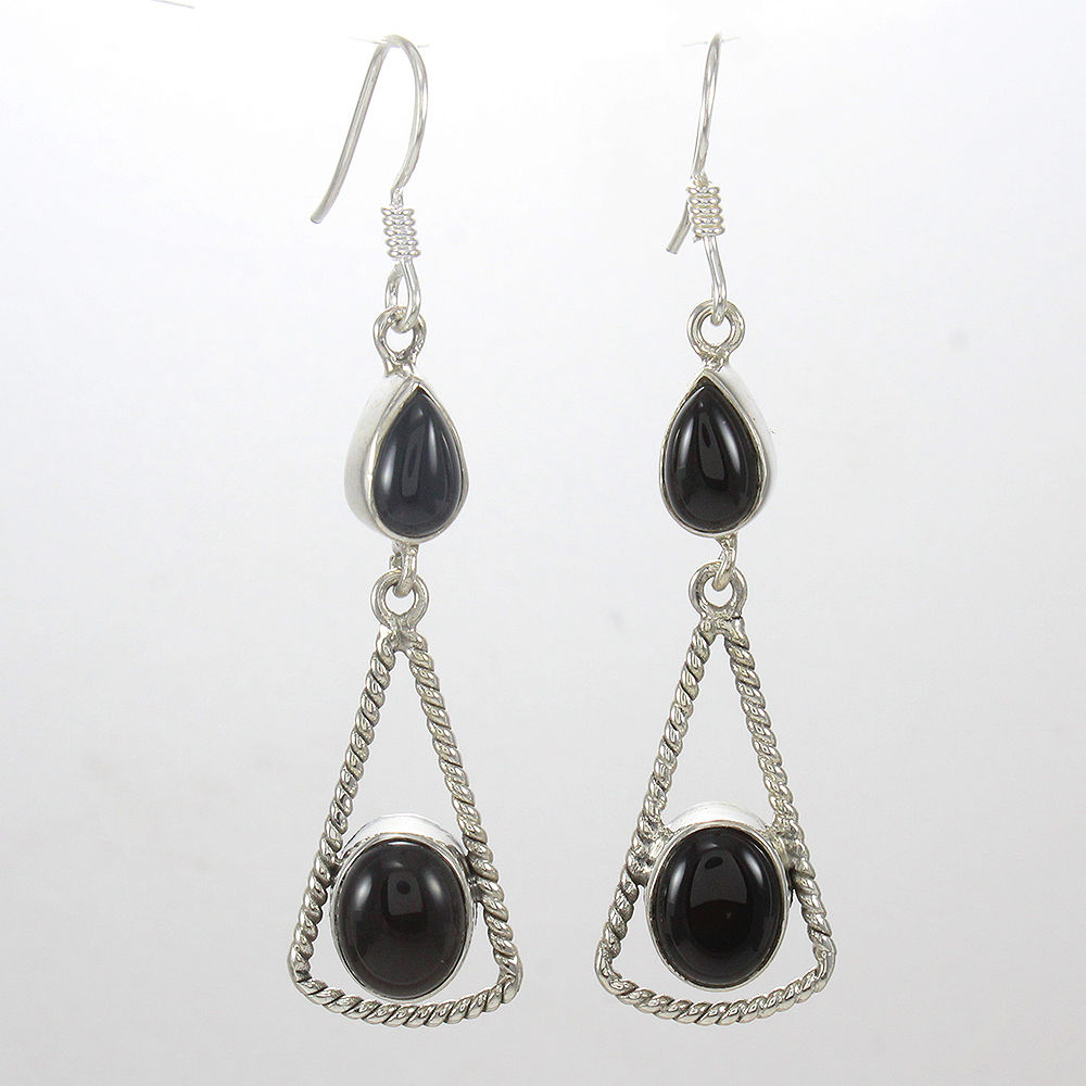 Designer-Jewelry-925-Sterling-Solid-Silver-Black-Onyx-Gemstone-Gift-Earrings thumbnail 7