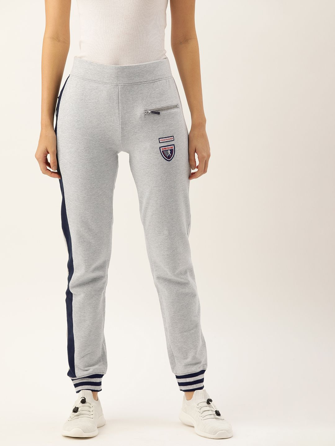 Slumber Jill Grey Melange Joggers with Badges