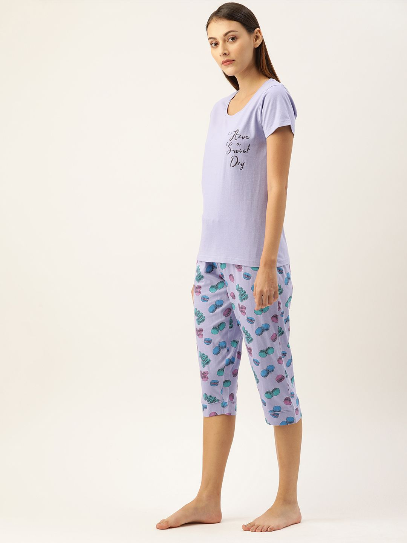Purple Heather Macaron Capri Set