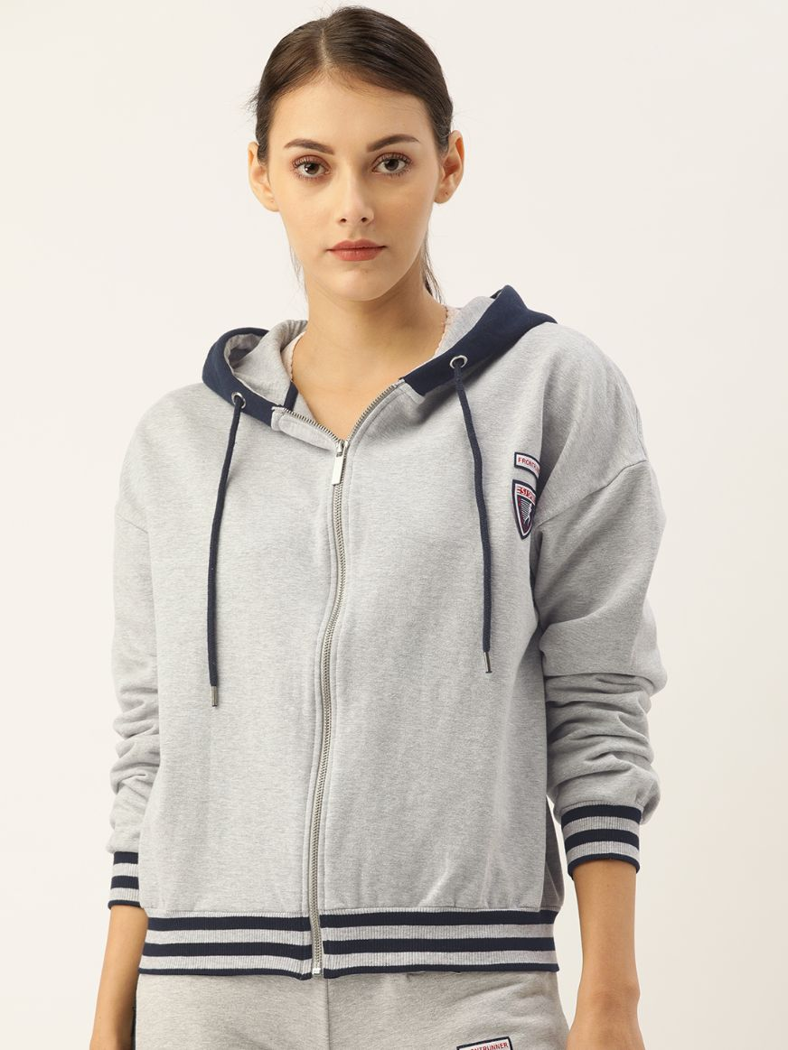 Slumber Jill Grey Melange Hoodie with Badges