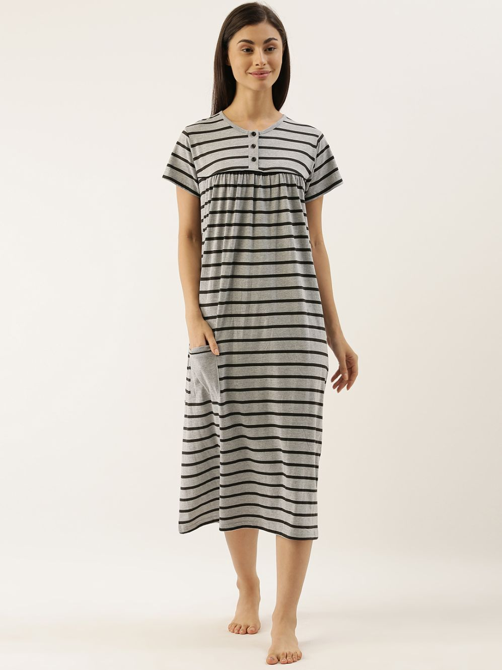 Slumber Jill Grey Stripes Night Dress