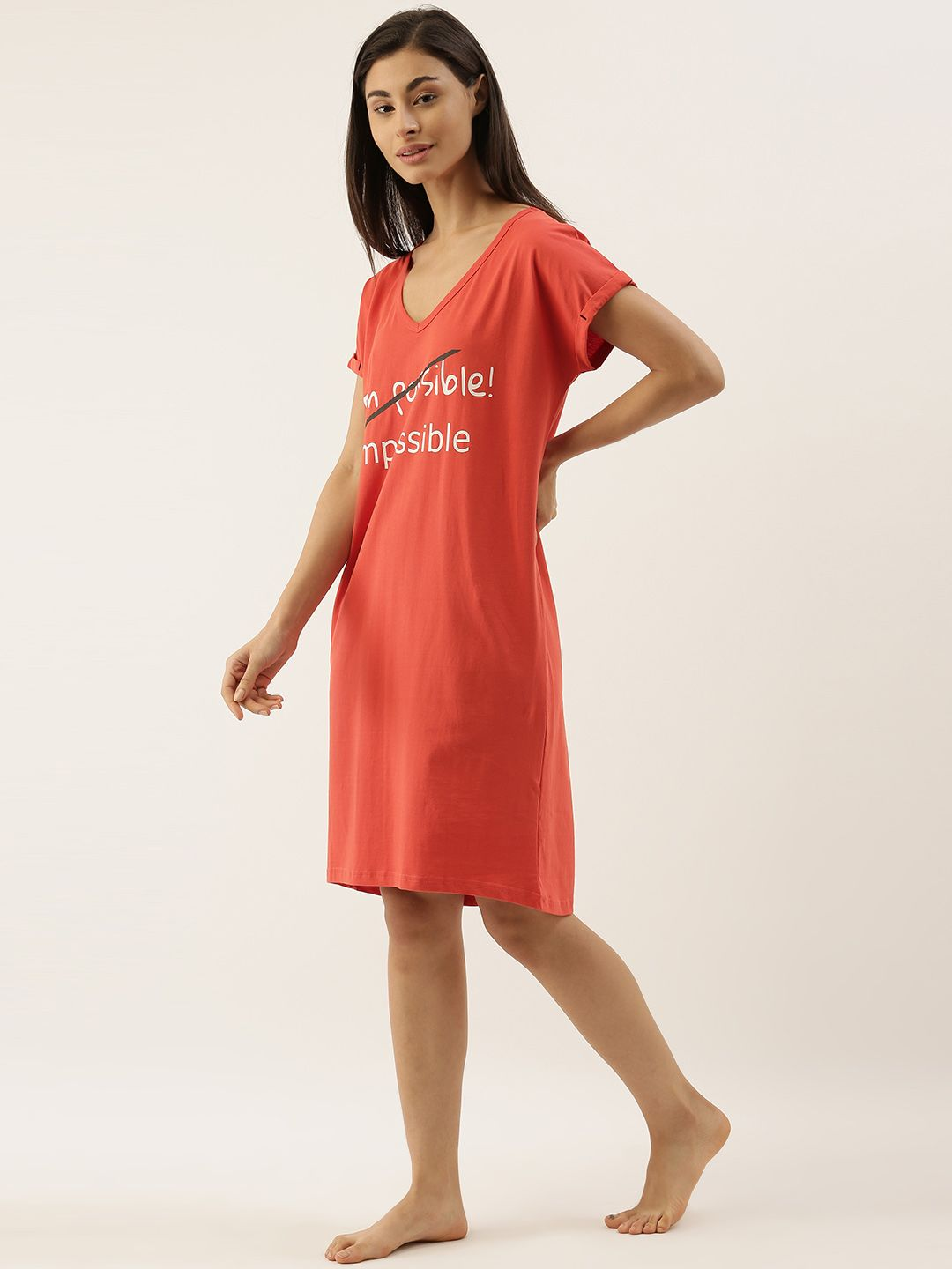 Slumber Jill Brick Coloured I Am Possible Loose Fit Sleepshirt