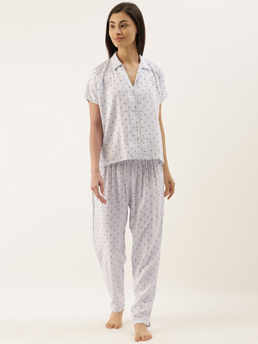 Slumber Jill Katrine White Blue Striped Viscose Twill Lounge Set