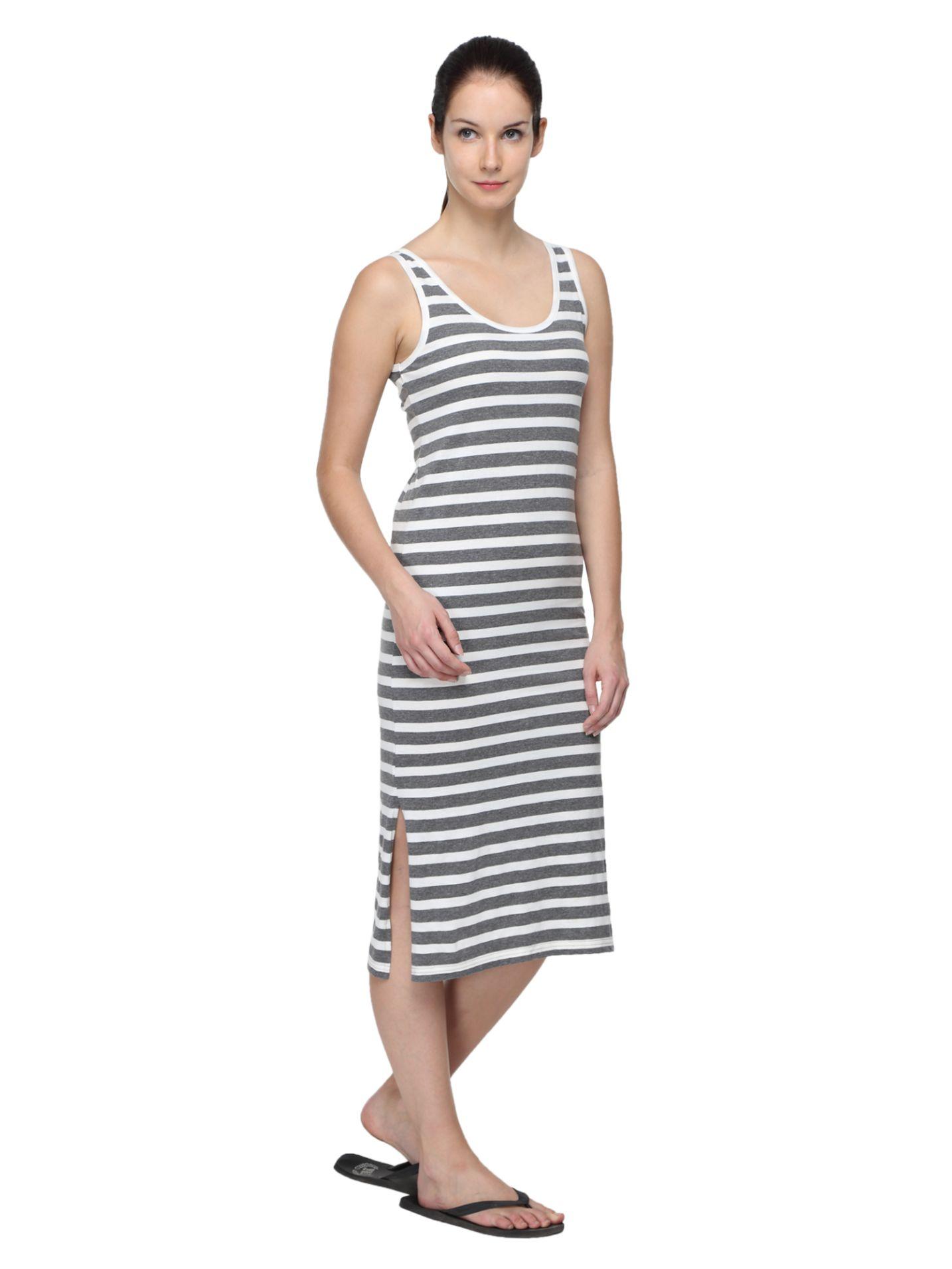 Slumber Jill Women's Nighty (White, Grey)
