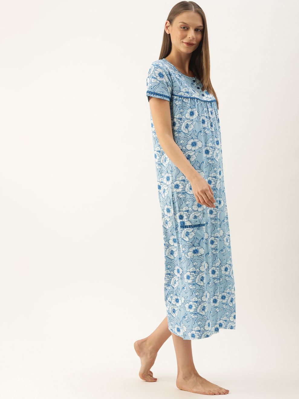 Slumber Jill Blue Flower AOP Night Dress