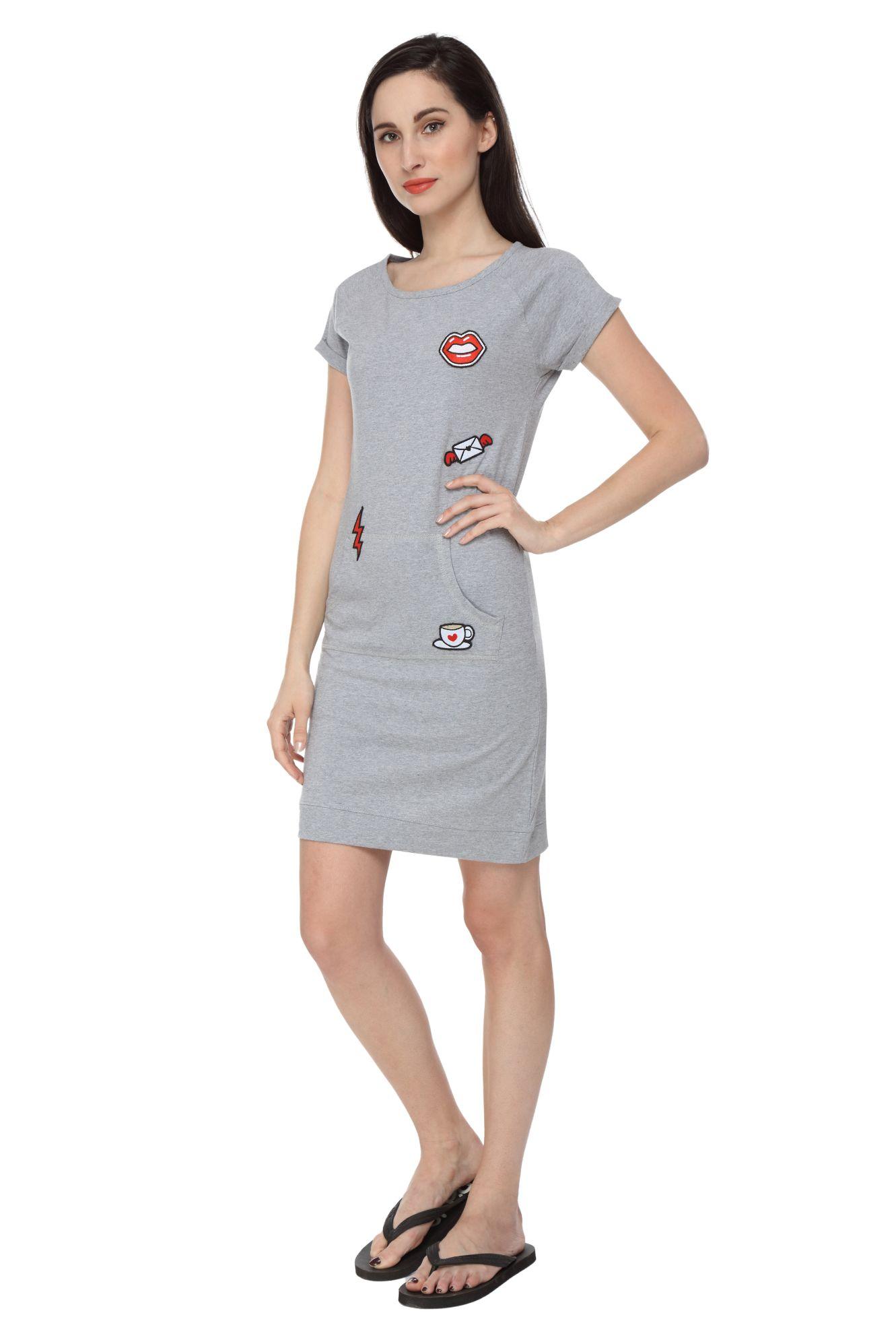 Slumber Jill Women Applique Grey Sleepshirt