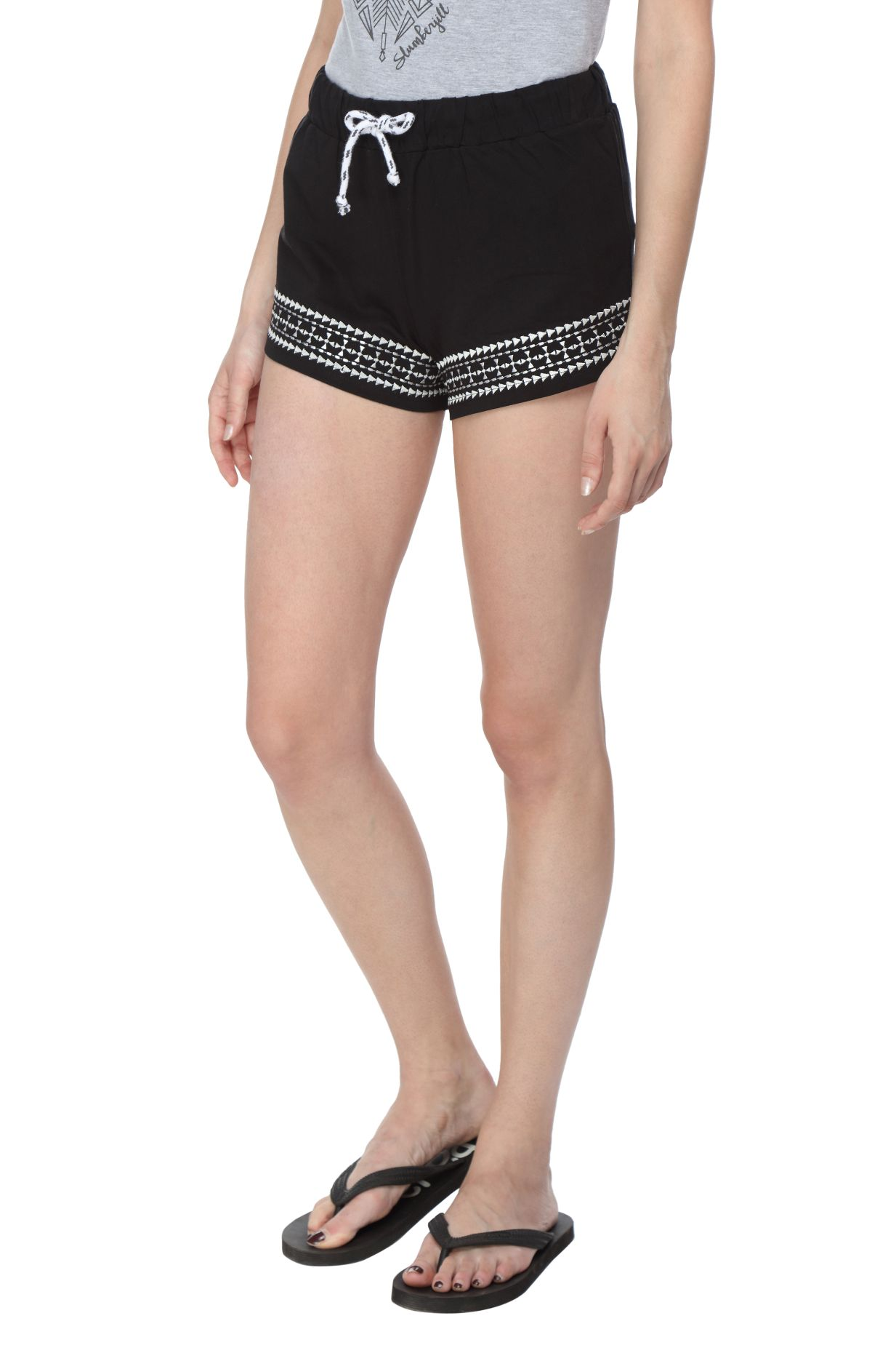 Slumber Jill Embroidered Women Black Night Shorts