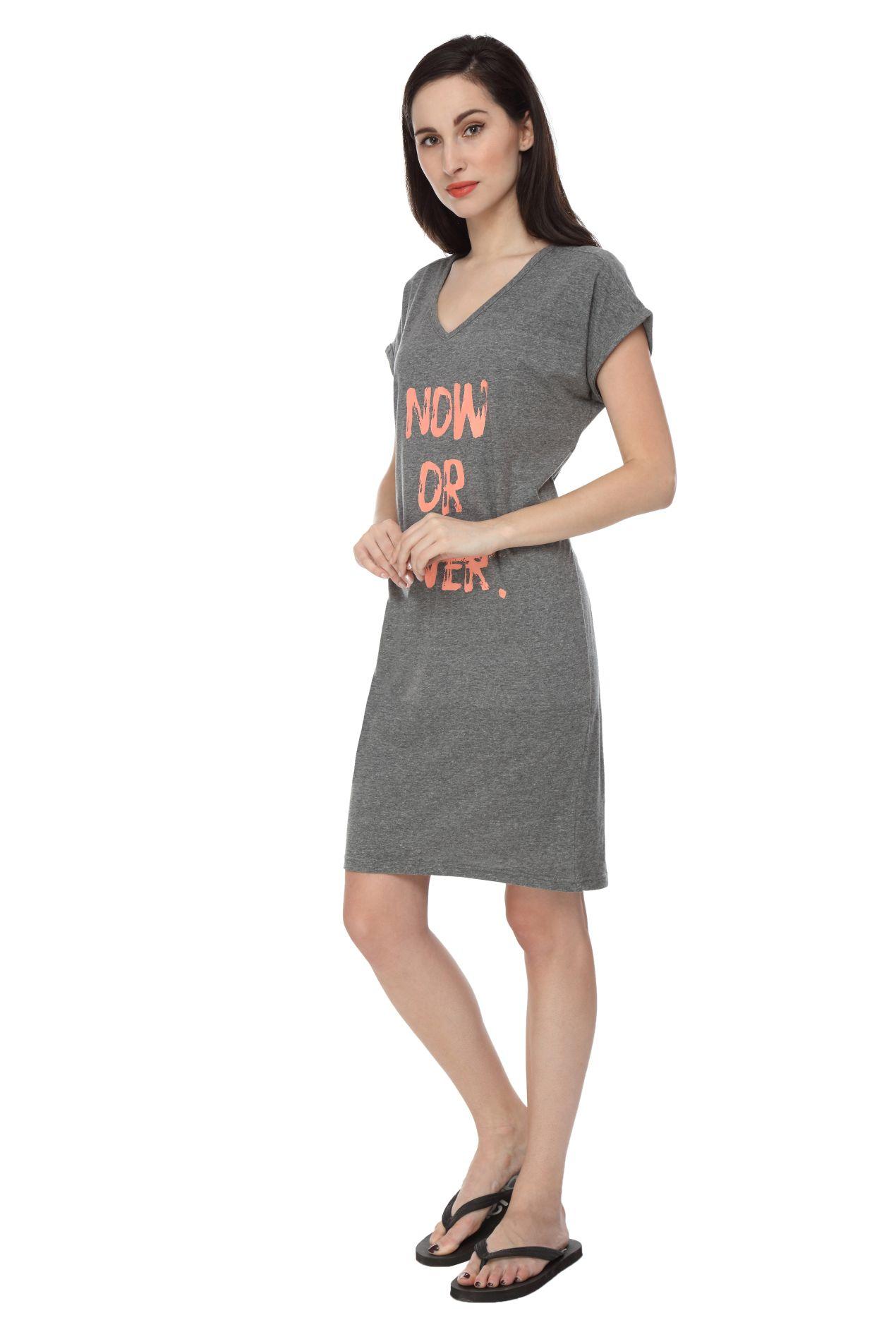 Slumber Jill Women Graphic Print Grey Sleepshirt