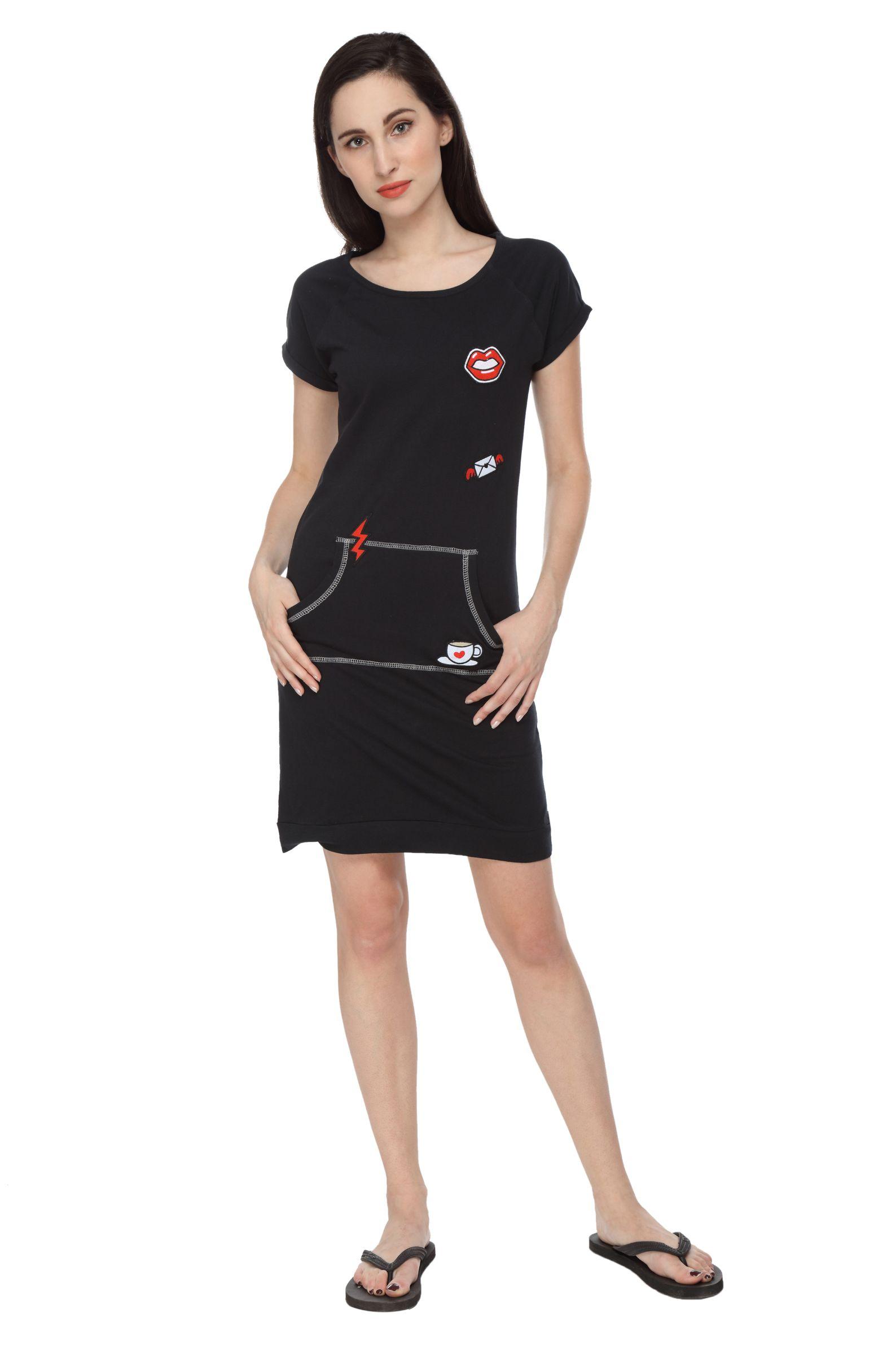 Slumber Jill Women Applique Black Sleepshirt