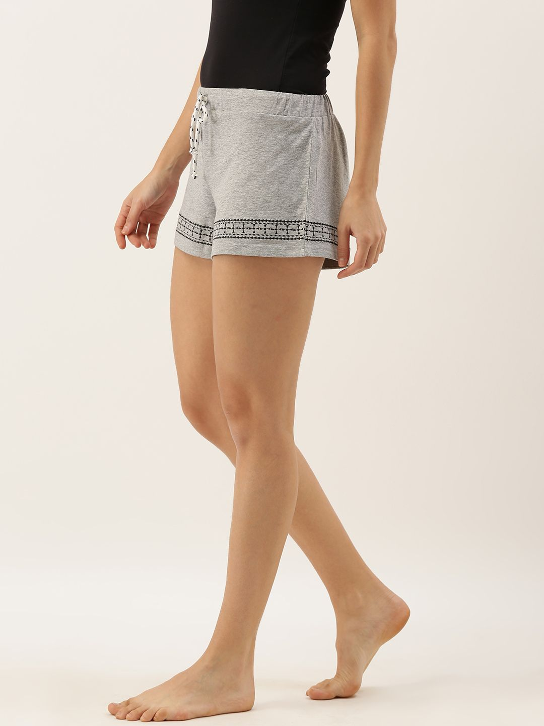 Slumber Jill Embroidered Women Grey Melange Shorts