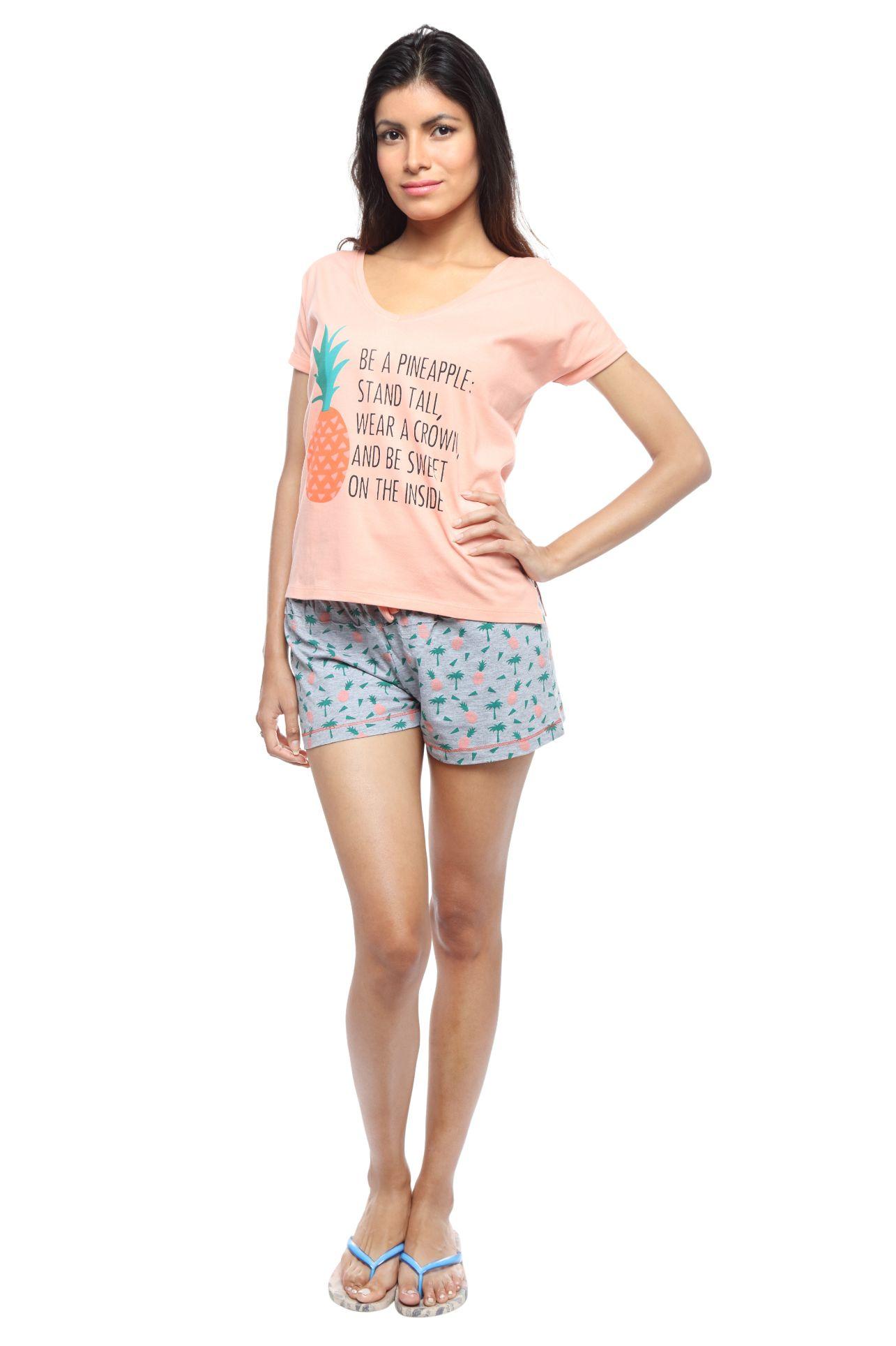 Slumber Jill Women Printed Grey Top & Shorts Set