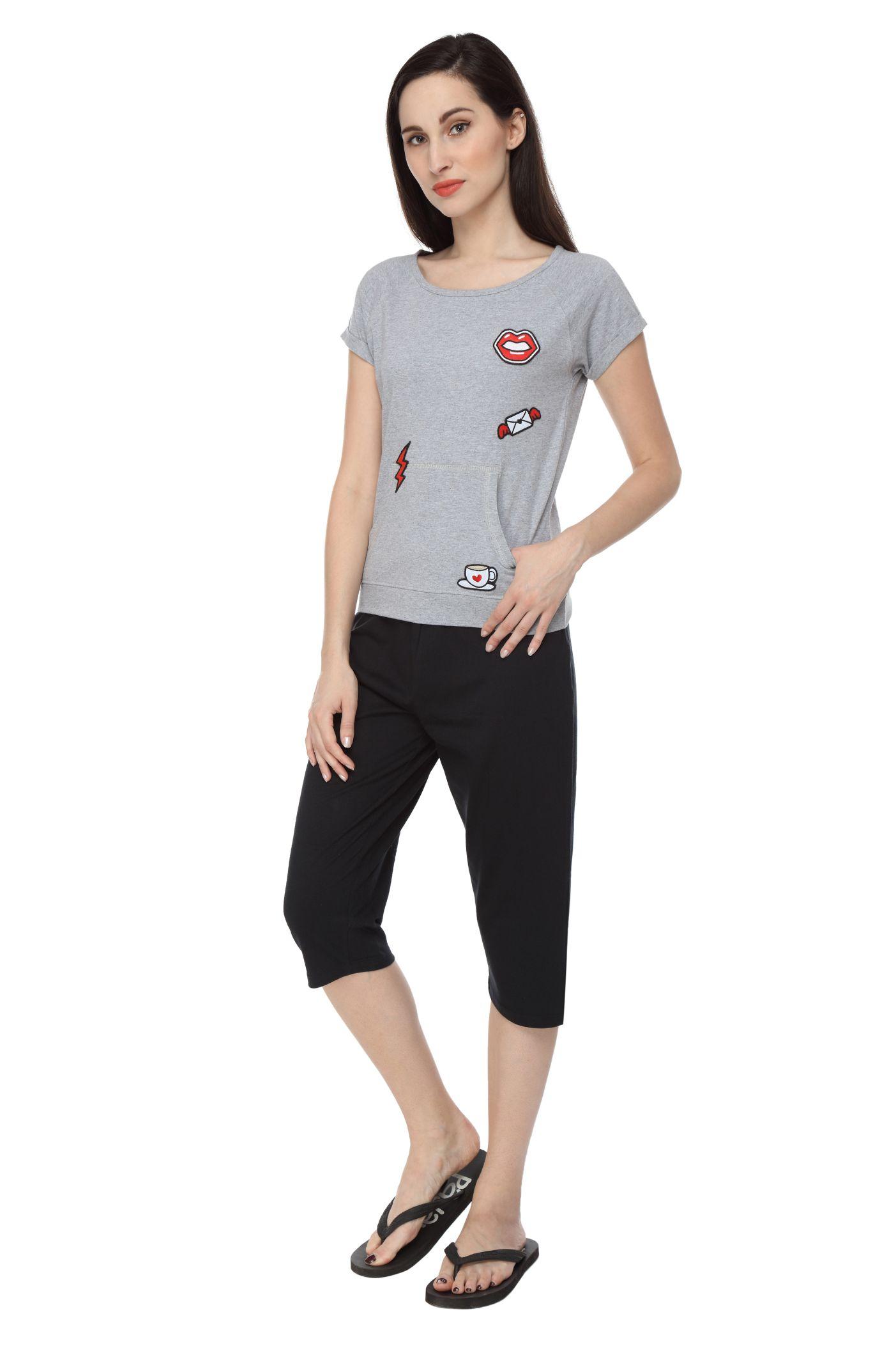 Slumber Jill Women Applique Grey Top & Capri Set