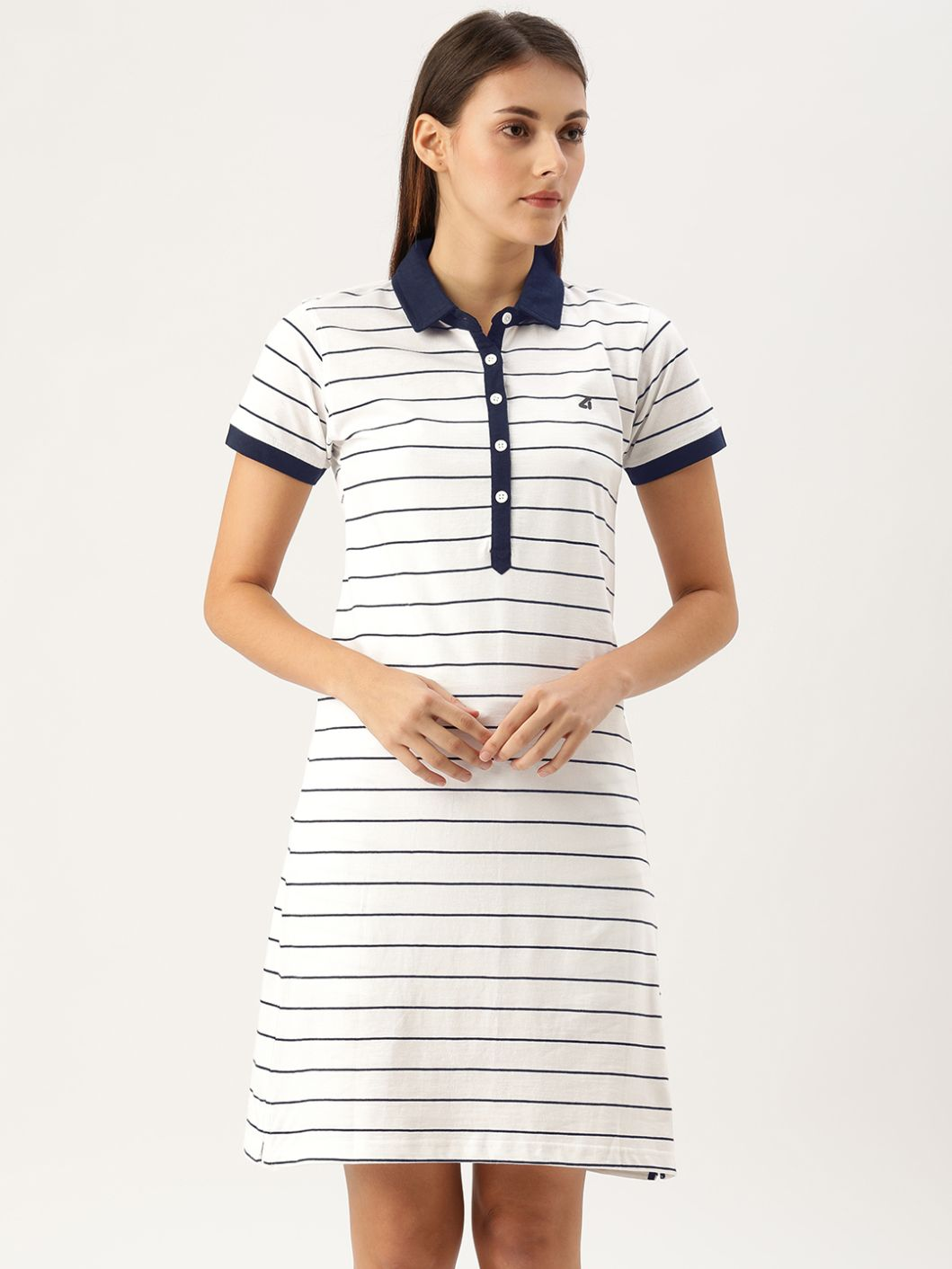 SJ Active Mariner White / Navy Polo Dress
