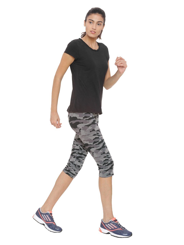 SJ Active Grey Black Camouflage Stretch Leggings