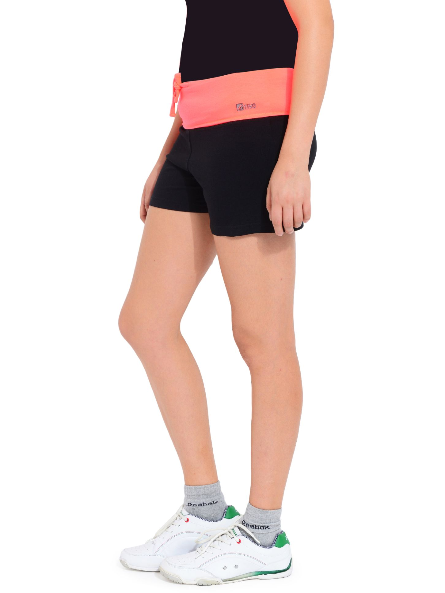 ATIVO Solid Women's Orange, Black Sports Shorts